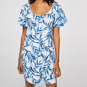 Mango Blue Leaf Print Ruffle Sleeve Shift Dress
